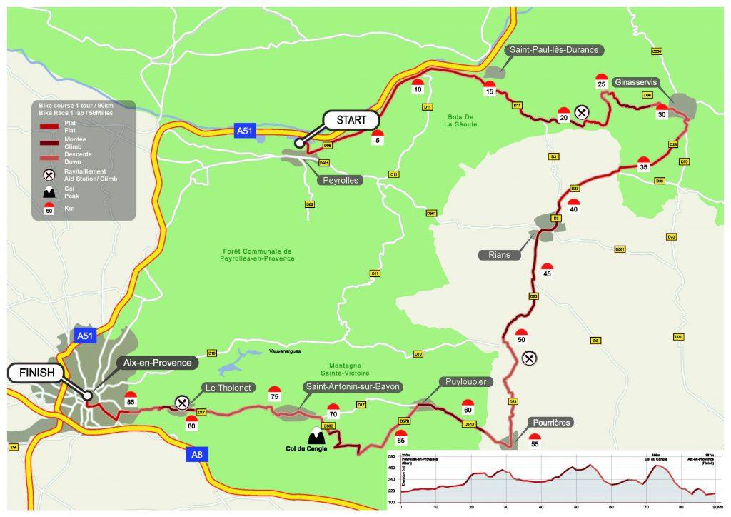 Tracé du parcours vélo de l'Ironman 703 Pays d'Aix